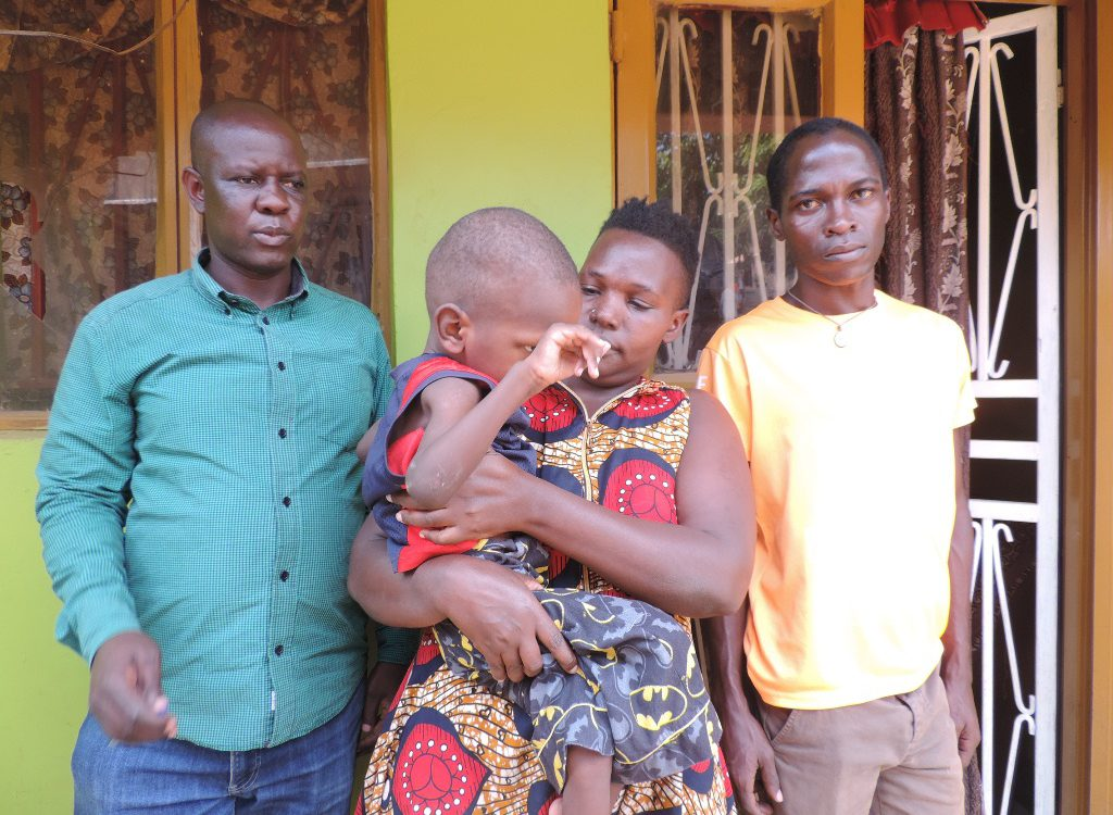 Prosper Kasozi, a 12-year-old child with cp who lives in Kyebando village